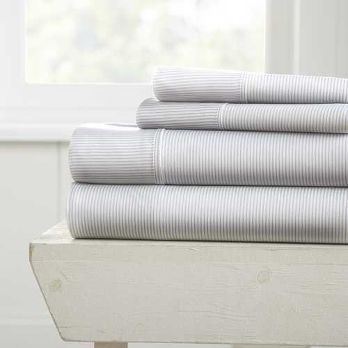 Case of [12] Full Pinstriped Pattern 4 Piece Bed Sheet Set