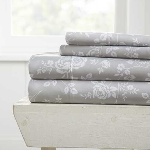 Case of [12] California King Rose Pattern 4 Piece Bed Sheet Set