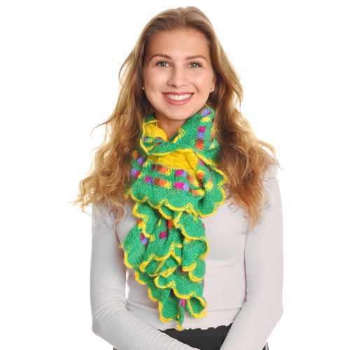 Case of [48] Angelina Knit Ruffle Rainbow Stripe Scarves - Assorted Colors