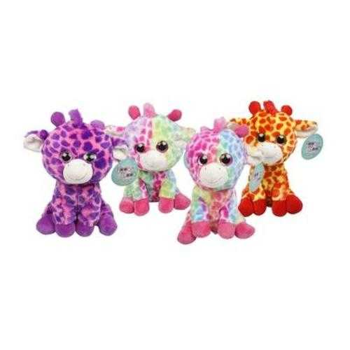 """Case of [12] 10"""" Big Eyes Giraffe Plush Toy - Assorted Colors"""