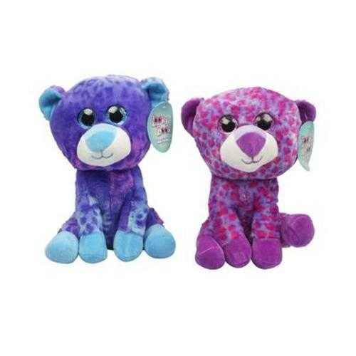 """Case of [12] 10"""" Big Eyes Leopard Plush Toy - Assorted Colors"""