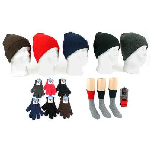 Case of [180] Boys' & Girls' Cuffed Knit Hats, Magic Gloves & Thermal Socks Combo