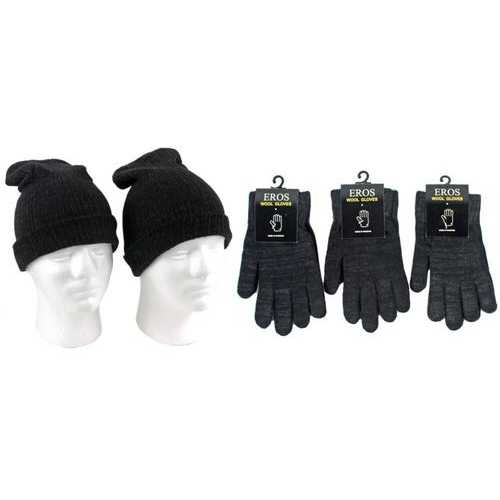 Case of [120] Adult Merino Wool Hat and Glove Combo