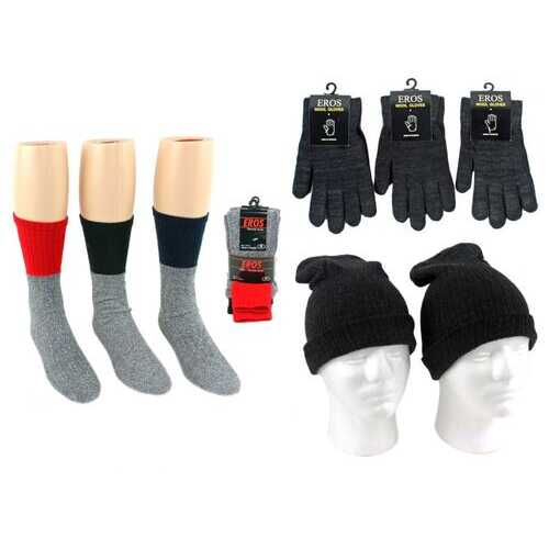Case of [180] Adult Hats, Gloves & Socks - Merino Wool, Assorted Colors