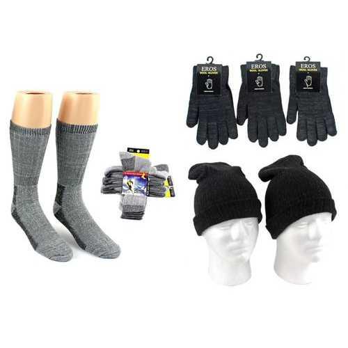 Case of [180] Adult Hats, Gloves & Socks - Merino Wool, Light Grey & Black