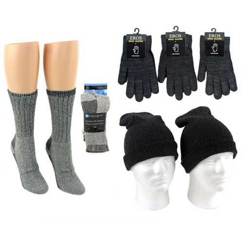 Case of [180] Adult Hats, Gloves & Socks - Merino Wool Combo, Black & Light Grey