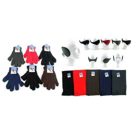 Case of [180] Adult Magic Gloves, Ear Wraps & Fleece Scarves - Solid Colors