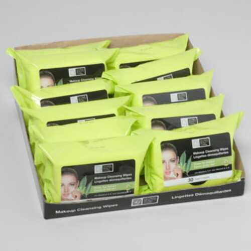 Case of [96] 30 Count Facial Makeup Cleansing Wipes Green Tea
