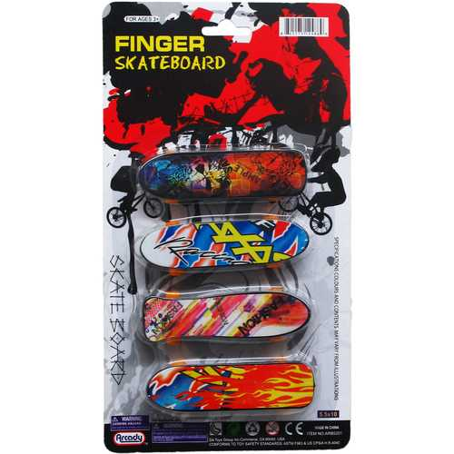 "Case of [144] 4-Piece 3.75"" Finger Mini Skateboard Play Set"