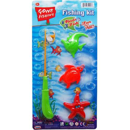 """Case of [48] 3-Piece Assorted Color Fishing Set With 7.5"""" Rod"""