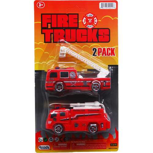 "Case of [72] 2-Piece 4"" Free Wheel Fire Rescue Truck Set"