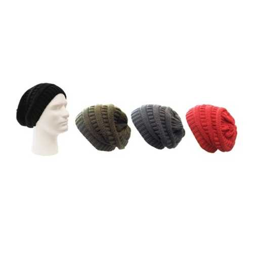 Case of [120] Adult Slouch Knit Beanies - Assorted Solid Colors
