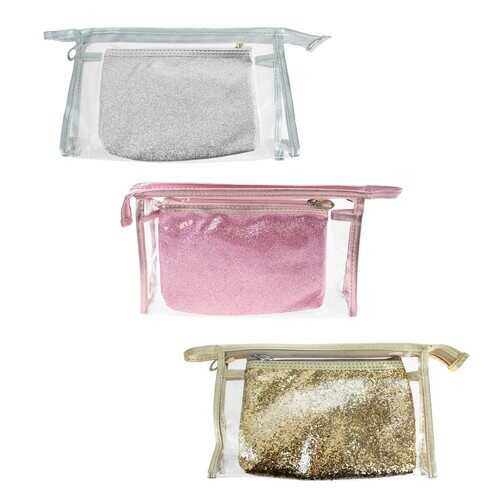 Case of [24] Cosmetic Bag Set - 2 Piece, 3 Assorted Colors