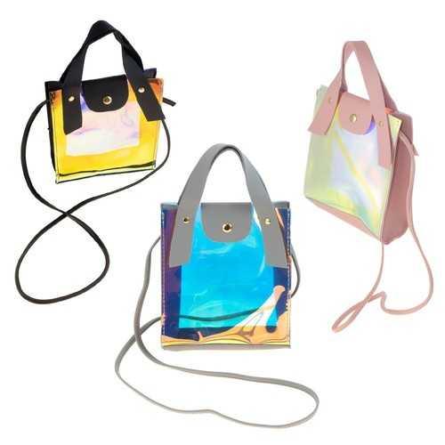 Case of [24] Women's Clear Metallic Crossbody Bag