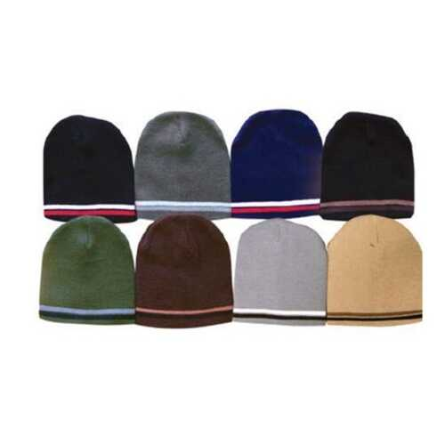 Case of [120] Adult Short Stripe Beanies - Assorted Colors