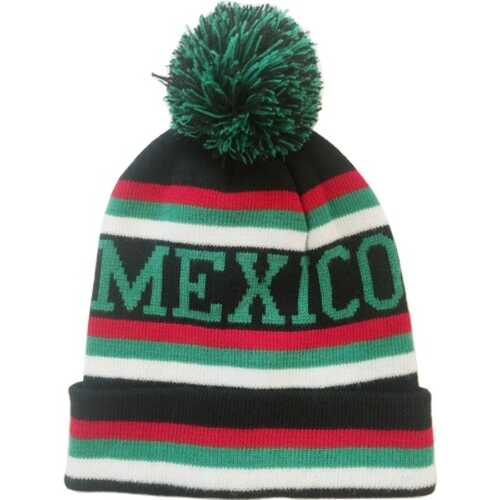 "Case of [120] ""Mexico"" Stripe Pom Beanies"