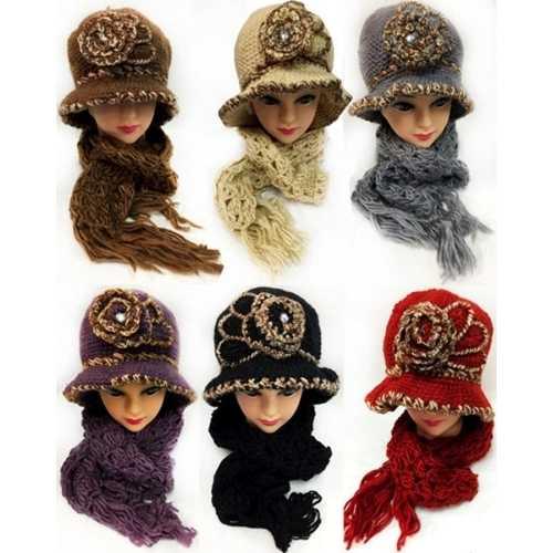 Case of [12] Women's Knitted Hat & Scarf Set - Rosette Embellishment
