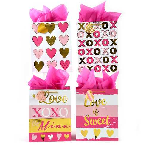 Case of [120] Large 'Sweet Valentine' Love Hot Stamped with Gold Gift Bags in 4 Assorted Designs
