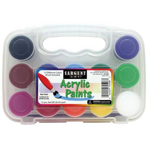 Case of [12] 12ct Hard Case Acrylic Paint Set