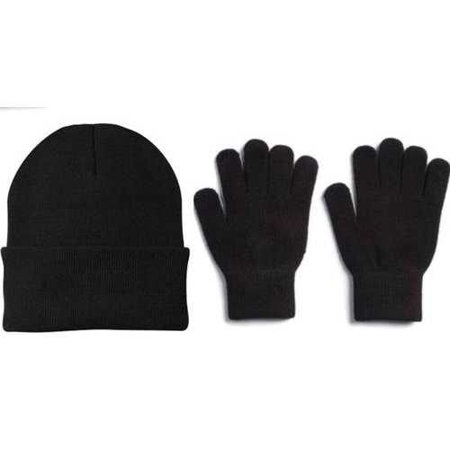 Case of [120] Adult Winter Beanie Hats & Magic Gloves Combo - Black
