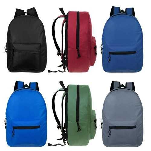 Case of [24] Kids Basic Black Backpack in 6 Assorted Colors