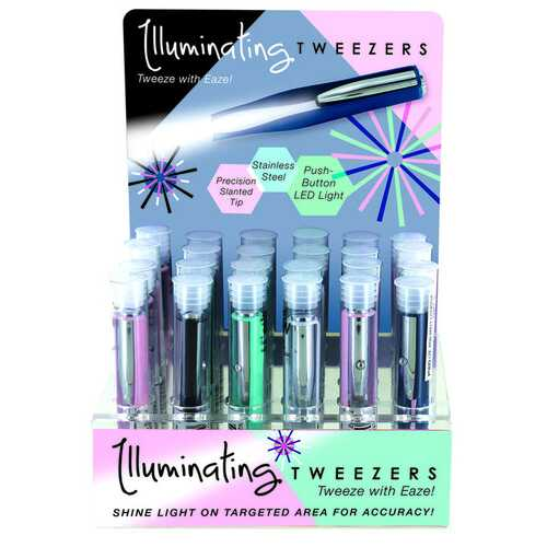 Case of [48] Illuminating Tweezers - Assorted Colors