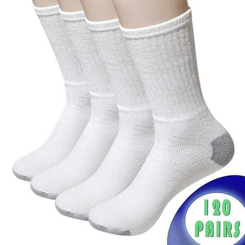 Case of [120] Men's Crew Cut Athletic Socks Size 10-13 - White