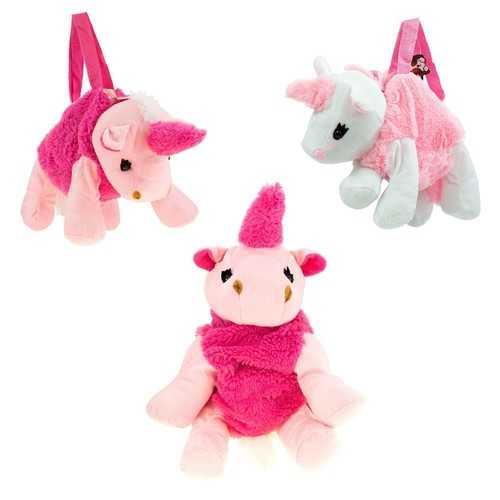 "Case of [24] 12"" Mini Plush Unicorn Handbag in 2 Assorted Colors"