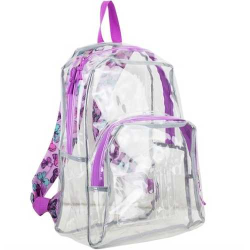 """Case of [12] 17"""" Eastsport Basic Clear Printed Strap Backpack - Purple"""