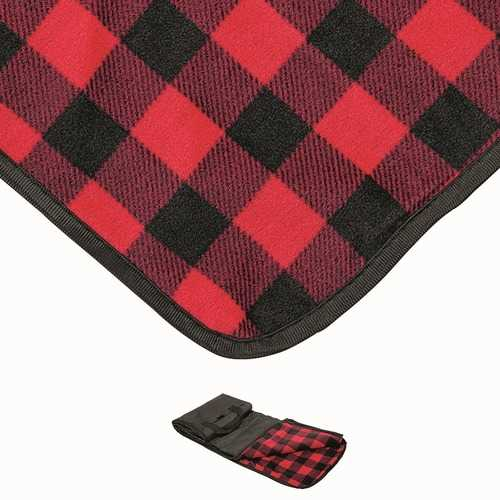 """Case of [24] Waterproof Outdoor Picnic Blankets 50"""" x 60"""" - Red Buffalo"""