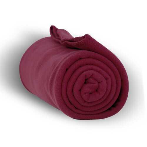 """Case of [24] Heavy Weight Fleece Blanket Throw - 50"""" x 60""""-Burgundy"""