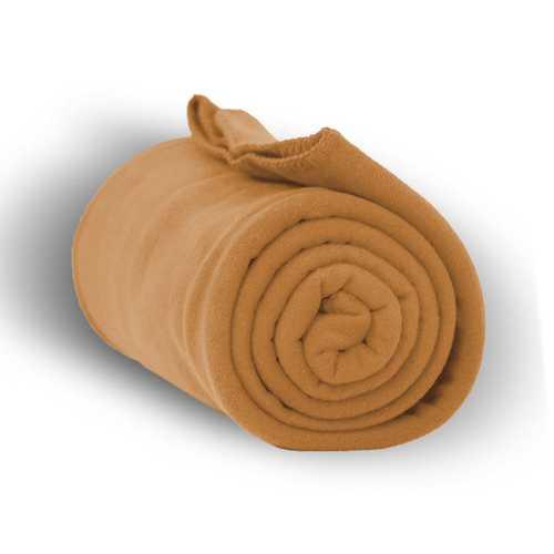 """Case of [24] Heavy Weight Fleece Blanket Throw - 50"""" x 60""""-Camel"""
