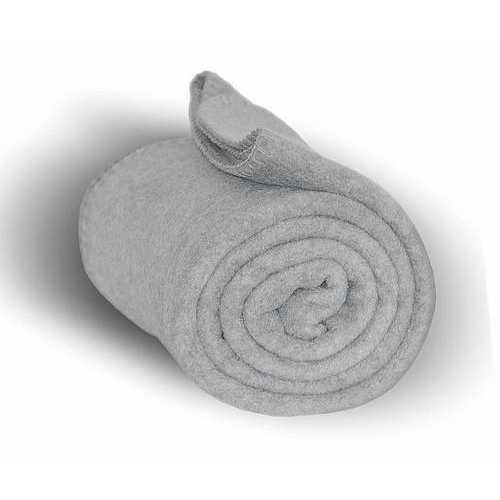 """Case of [24] Heavy Weight Fleece Blanket Throw - 50"""" x 60""""-Heather Gray"""