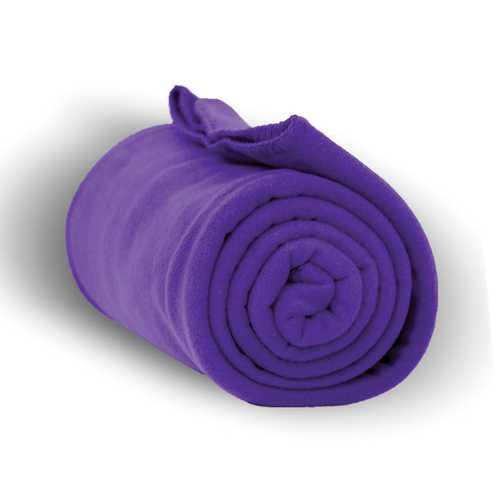 """Case of [24] Heavy Weight Fleece Blanket Throw - 50"""" x 60""""-Purple"""