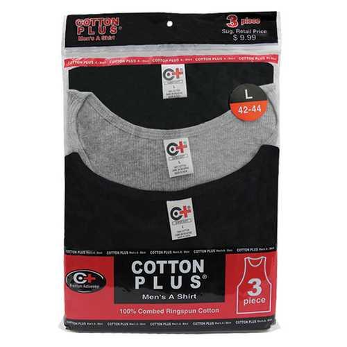 Case of [12] 3 Pack Cotton Plus Black/Grey A-shirt - 2X