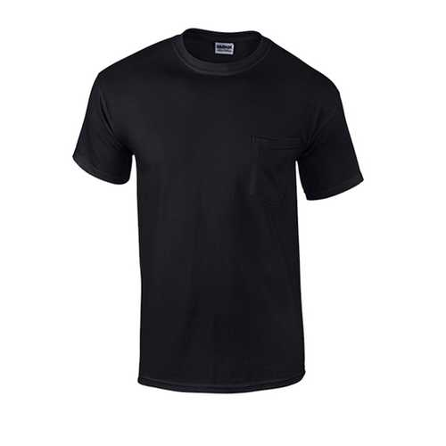 Case of [12] Black Irregular Gildan Pocket T-shirts - 3X