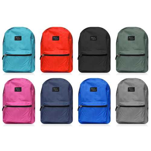 """Case of [24] 18"""" Maxx Gear Basic Backpack - 8 Assorted Colors"""