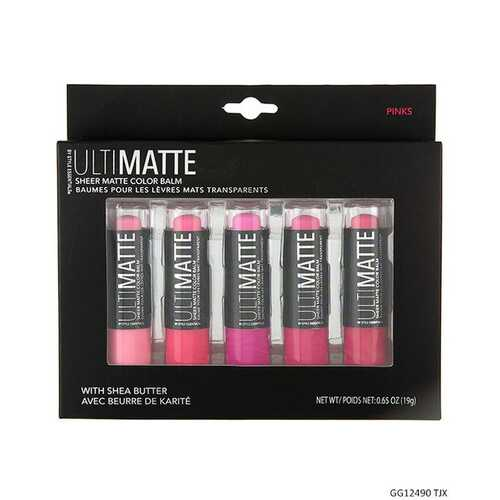 Case of [48] Ultimatte Style Essentials Sheer Matte Lip Collection - 5 Piece, Pinks