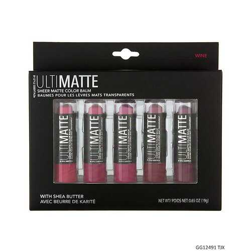 Case of [48] Ultimatte Style Essentials Sheer Matte Lip Collection - 5 Piece, Wine