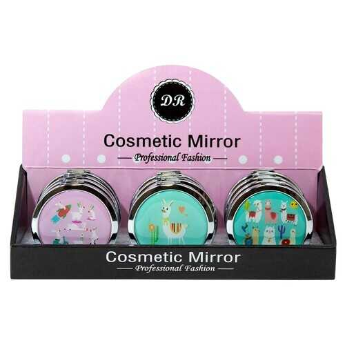 Case of [48] Professional Fashion Round Cosmetic Mirror - Assorted Alpaca Prints