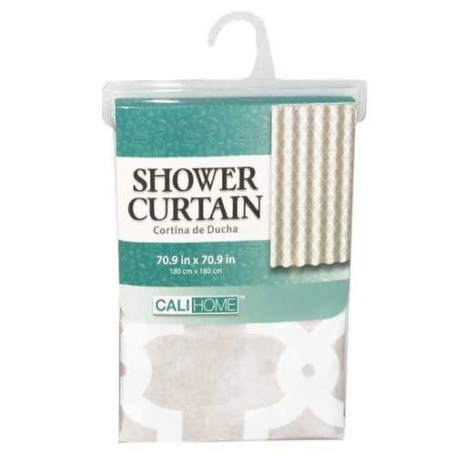 """Case of [24] Grey/White Fabric Shower Curtain 70.9"""" x 70"""""""