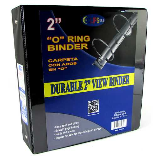Case of [12] 3-Ring View Binder with Pockets - Black - 2""