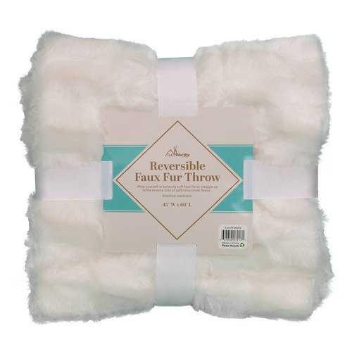 Case of [10] TrailWorthy Faux Fur Micro Mink Blanket - White