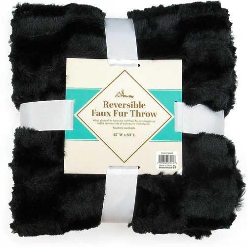 Case of [10] TrailWorthy Faux Fur Micro Mink Blanket - Black