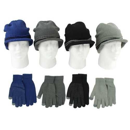 Case of [24] Men's Knit Brimmed Hat & Non-Slip Touchscreen Gloves Set - Assorted Colors