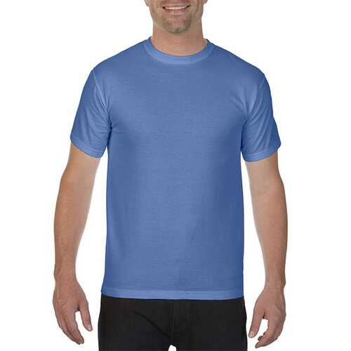 Case of [12] Comfort Colors First Quality - Garment Dyed Short Sleeve T-Shirts - Flo Blue - Large