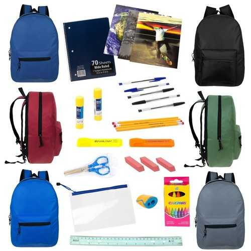 """Case of [12] 19"""" Backpacks with 25 Piece School Supply Kit"""