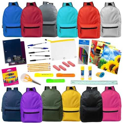 """Case of [12] 19"""" Backpacks - 12 Assorted Colors"""