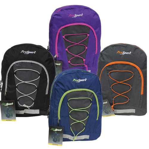 "Case of [24] 17"" Prosport Classic Bungee Backpack - 4 Assorted Colors"