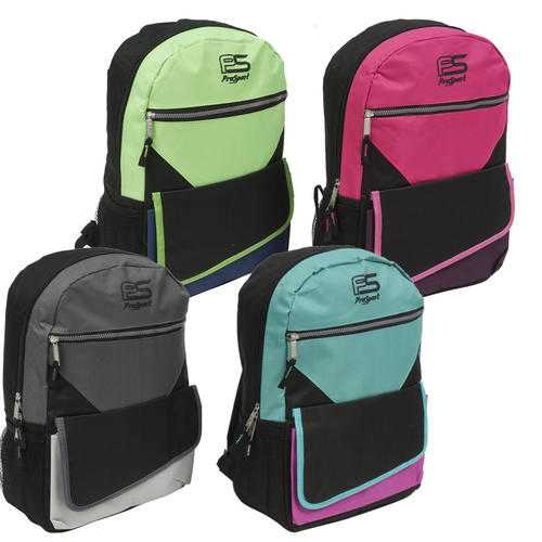 """Case of [24] 17"""" Prosport Premium 3-Compartment Backpack - 4 Assorted Colors"""